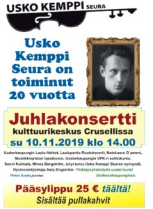 USKO KEMPPI seuran Juhlakonsertti kulttuurikeskus Crusellissa su 10.11.2019 klo 14.00