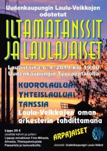 Uudenkaupungin Laulu-Veikot järjestää perinteiset Iltamatanssiaiset ja laulajaiset 6.4.2019