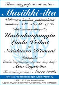 Itsenäisyyspäivän aaton Musiikki-ilta Viikaisten koulun juhlasalissa torstaina 5.12.2019 klo 19.00